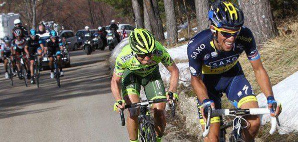 Sur Tirreno-Adriatico, Santambrogio serre les dents, mais il est bien le seul à suivre Alberto Contador - Photo Vini Fantini