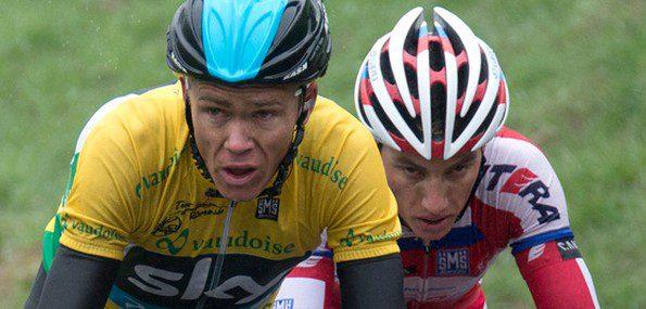 Maillot jaune sur le dos, Chris Froome aura tout juste été mis en difficulté par Simon Spilak - Photo tourderomandie.ch