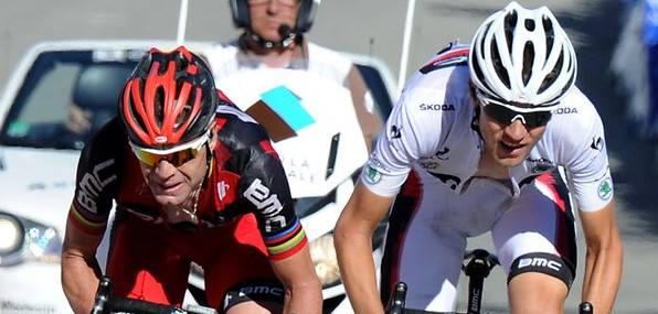 Sur le Tour 2012, Van Garderen avait terminé devant Evans au général, mais sera encore équipier en 2013 - Photo AFP