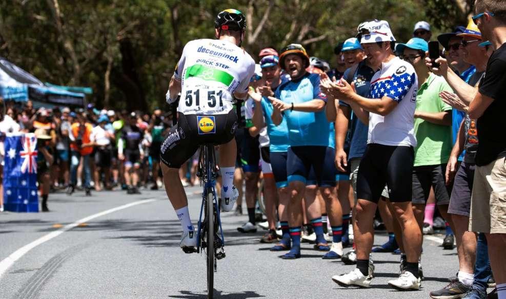 Sam Bennett, victorieux à deux reprises en 2020, en wheeling. Photo : Santos Tour Down Under / Getty Images