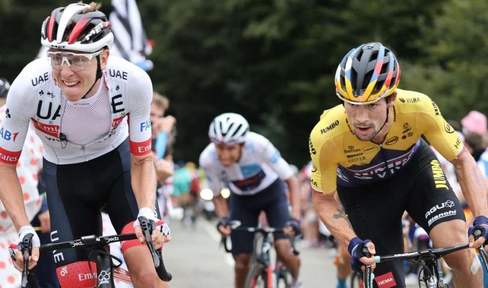 Tadej Pogacar et Primoz Roglic, le duo slovène qui anime ce Tour de France. Photo : Getty Images